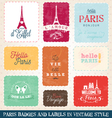 Paris Greeting card Elements vector image