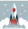 social start up flat design concept with rocket vector image