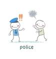 Police listen to the girl who runs vector image vector image