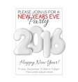 Invitation to New Year party with white numbers vector image