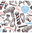 Barber Shop Attributes Doodle Seamless Pattern vector image