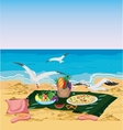 Seagulls are trying to steal food left on the vector image