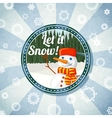 Badge with cute snowman and pine forest -Let it vector image
