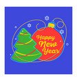 flat linear christmas banner scroll tag card vector image
