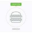 Hamburger icon Fast food sign vector image