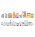 Houses Set Color and Monochrome vector image
