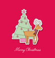 merry christmas reindeer with scarf and tree pine vector image