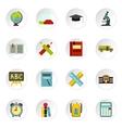 School icons set flat style vector image
