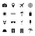 set of black travel icons vector image