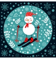 Beautiful Christmas card with snowman skiing vector image