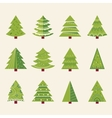 Christmas tree set with decoration happy new year vector image