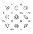 Geometric 3d crystal shapes diamond gems thin vector image