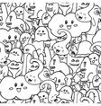 Doodle seamless pattern with monsters vector image