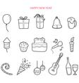Party Decoration Outline Icons Set Monochrome vector image