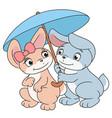 enamored bunnies with umbrella 2 vector image