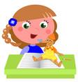 girl reading pinocchio book vector image