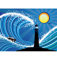 Lighthouse and Boat in the Sea vector image