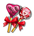 lollipops on stick with hearts for valentines day vector image