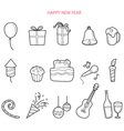 Party Decoration Outline Icons Set Monochrome vector image