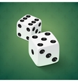 Realistic white dice icon on green background vector image