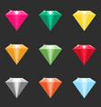 set of cartoon diamonds crystals in different vector image