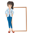 A girl standing with a blankboard at the back vector image vector image