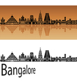 Bangalore skyline in orange vector image vector image