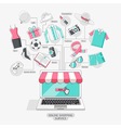 Shopping stores online conceptual line icons style vector image