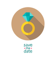 Diamond wedding ring save the date card template vector image