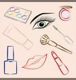 set of decorative cosmetics makeup vector image