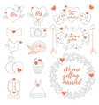 weddings banner tag icons ribbons set vector image