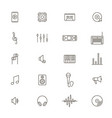 acoustics and sound black thin line icon set vector image
