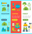 cartoon traveling camping and hiking banner vector image