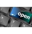 Open button on the computer keyboard vector image