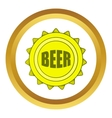 Beer bottle cap icon cartoon style vector image