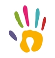 handprint silhouette colorful icon flat vector image