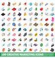 100 creative marketing icons set isometric style vector image
