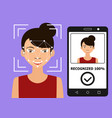 biometrical identification face recognition vector image