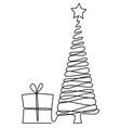 Christmas tree one line drawing vector image