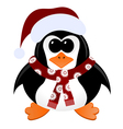 Cartoon penguin with Christmas hat and scarf vector image vector image