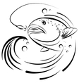 Fish jumping out of the water to grab the bait vector image