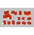 Cube World Red plastic barrels vector image