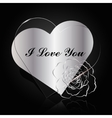 Silver and glass hearts with flower vector image