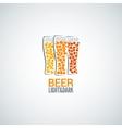 beer glass logo design background vector image