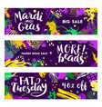 set of mardi gras banners vector image