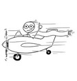 stickman cartoon of smiling man flying small vector image