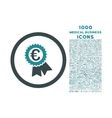 Euro Award Seal Rounded Icon with 1000 Bonus Icons vector image