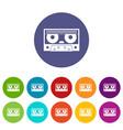 audio cassette tape icons set flat vector image