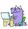 Cartoon gamer croc played on laptop vector image