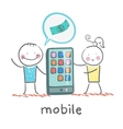 people selling mobile girl vector image